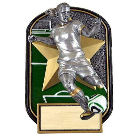 "6.5"" Rock n Jox Female Soccer Resin Trophy"