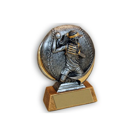 "Female 5"" 3D Resin Softball Trophy"