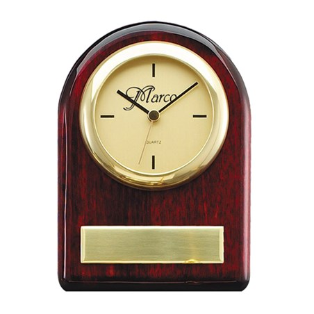 Rosewood Clock with Brass Accents