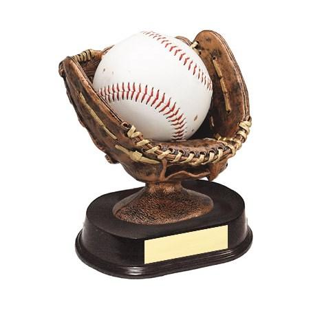 5 in Resin Sculpture Baseball Glove w/ Ball Holder