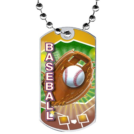 2 in Baseball Dog Tag w/ Epoxy Dome Graphics