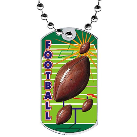 2 in Football Dog Tag w/ Epoxy Dome Graphics