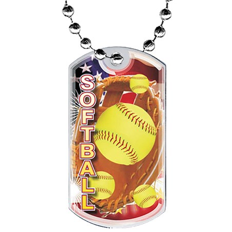 2 in Softball Dog Tag w/ Epoxy Dome Graphics