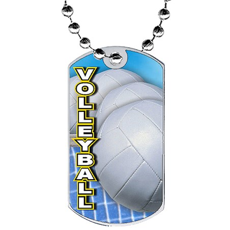 2 in Volleyball Dog Tag w/ Epoxy Dome Graphics