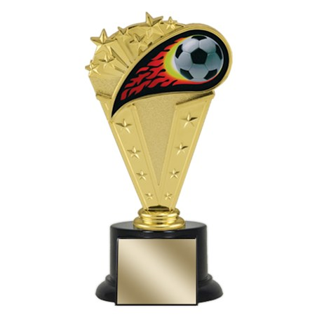 "8"" Soccer Trophy with Round Black Base"