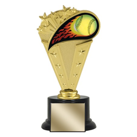 "8"" Softball Trophy with Round Black Base"