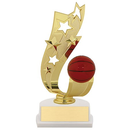 "7"" Offset Basketball Ribbon Trophy"