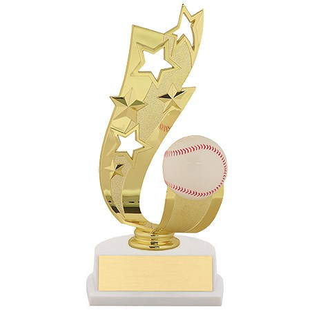"7"" Offset Baseball Ribbon Trophy"