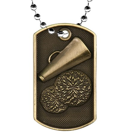 2 in 3D Cheer Dog Tag w/ 24 in Chain