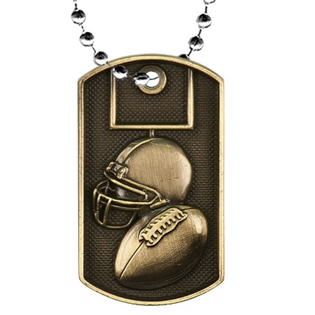 "2"" 3D Football Dog Tag w/ 24"" Chain"