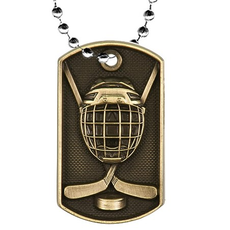 "2"" 3D Hockey Dog Tag w/ 24"" Chain"