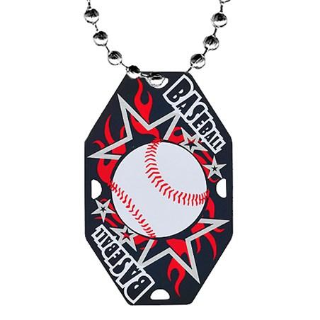 "2.5"" Baseball Dog Tag w/ Chain"
