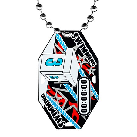 2.5 in Swimming Dog Tag w/ Chain