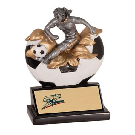 """5-1/4"""" Xploding Female Resin Soccer Trophy"""