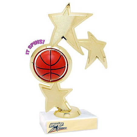 "8.75"" Spinning Basketball Theme Trophy"