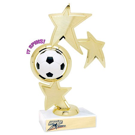 "8.75"" Spinning Soccer Theme Trophy"