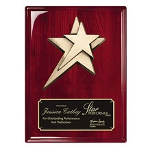 Rosewood Piano Finish Star Plaque - 2 Sizes