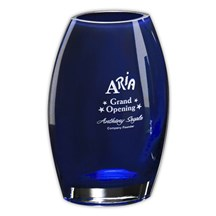 Personalized Blue Cobalt Oval Vase - 2 Sizes Available