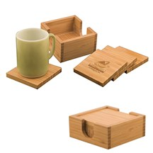 Laserable Bamboo Coaster Set