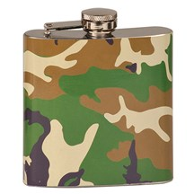 Laserable 6 oz. Camouflage Stainless Steel Flask