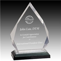 Clear Acrylic Diamond Award w/ Black Base