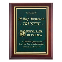 Genuine Cherry  Finish Corporate Plaque with Green Plate.