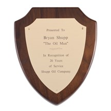 Genuine Walnut Shield Corporate Award Plaque
