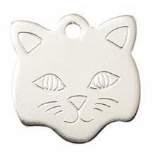 Silver Cat Face Pet Tag