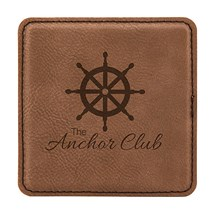 Dark Brown Square Leatherette Coaster
