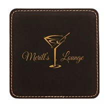 Black Square Leatherette Coaster