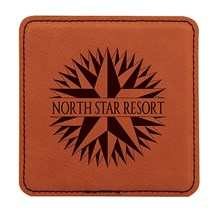 Rawhide Square Leatherette Coaster