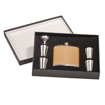 6 oz. Leather Stainless Steel Flask Set