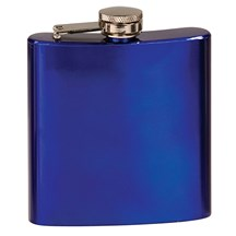 Laserable 6 oz. Blue Stainless Steel Flask
