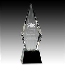 Obelisk Facet Crystal w/ Black Base - 2 Sizes