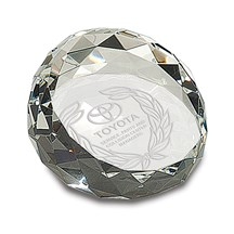 Clear Crystal Facet Paperweight - 2 Sizes