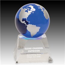 Blue Crystal Globe w/ Clear Crystal Base - 2 Sizes