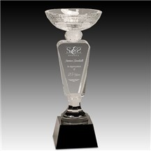 Clear Crystal Cup w/ Black Pedestal Base - 2 Sizes