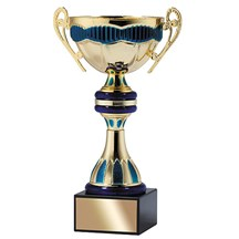 Gold Metal Cup w/ Blue Accents - 3 Sizes