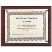 10.5 x 13 Solid Walnut Certificate Plaque