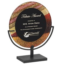 Round Acrylic Art Plaque w/ Iron Stand - 2 Sizes