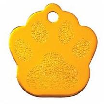 Gold Paw Print Pet Tag