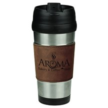 16 oz. Stainless Steel Leatherette Grip Travel Mug - DB
