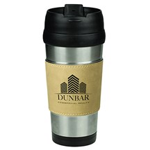 16 oz. Stainless Steel Leatherette Grip Travel Mug - LB