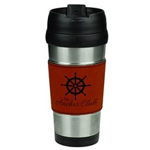 16 oz. Stainless Steel Leatherette Grip Travel Mug - RW