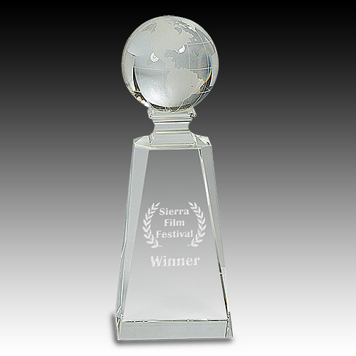 "7-3/4"" Crystal Globe on Clear Tower Award"