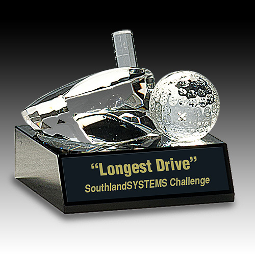 4 in x 3 in Clear Crystal Golf Ball & Club Award