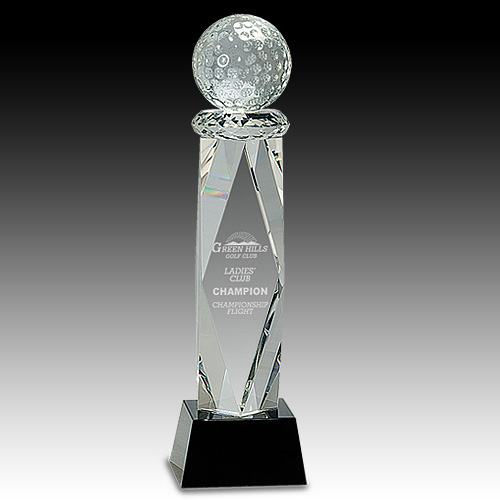 "11"" Crystal Golf Ball Award on Facet Column"