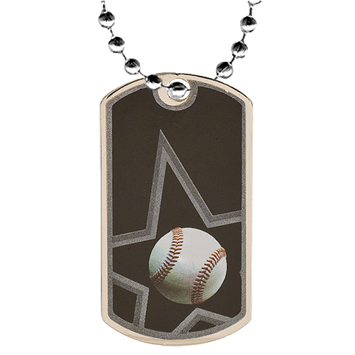 "2"" Baseball Dog Tag w/ 24"" Chain"