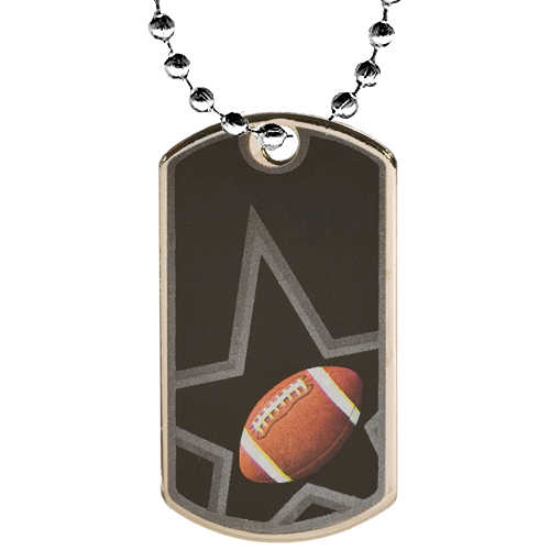 "2"" Football Dog Tag w/ 24"" Chain"