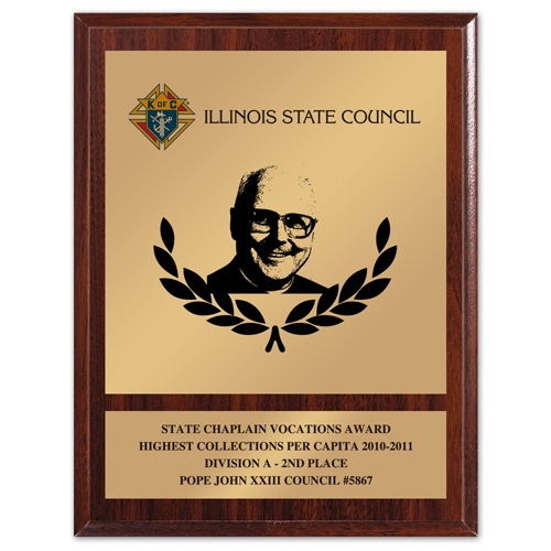 "8"" x 10"" State Chaplain Vocations Award"